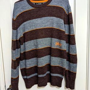 Billabong Men's Crewneck Knit StripedSweater, Grey, Maroon and Orange Size Large